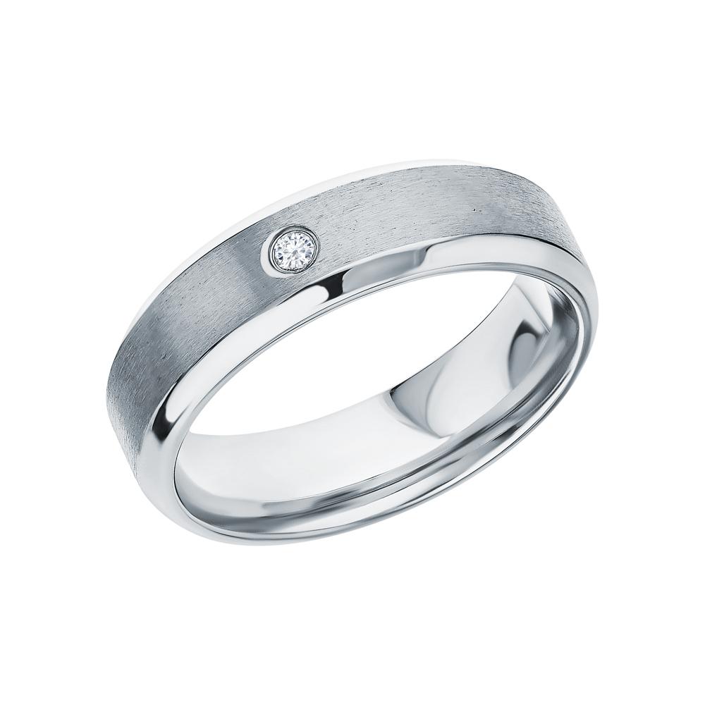 Стальное кольцо с фианитами в Екатеринбурге