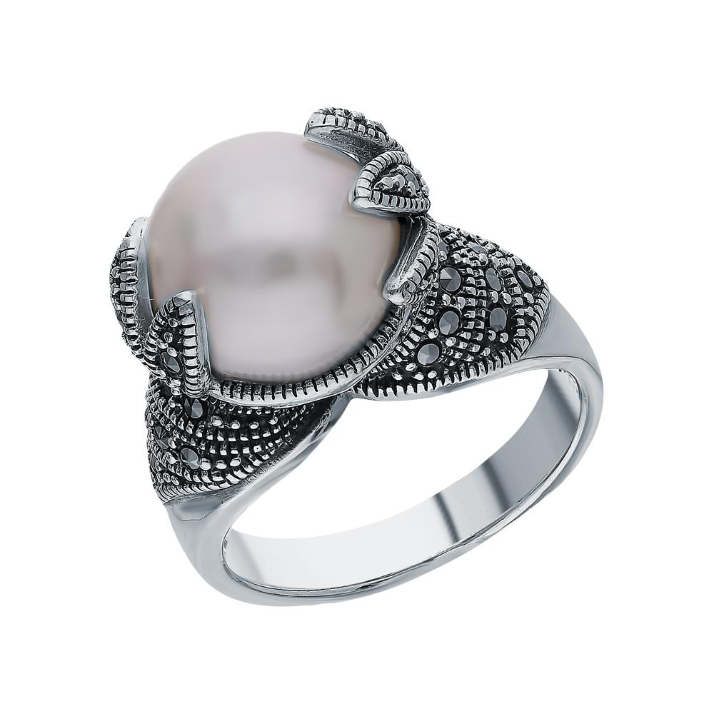 Серебряное кольцо с жемчугами культивированными и марказитами swarovski в Санкт-Петербурге