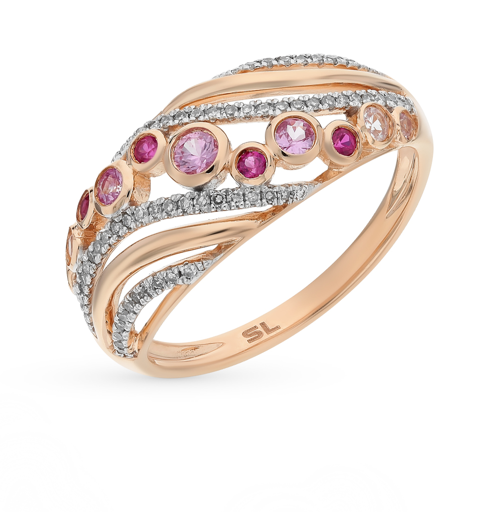золотое кольцо с рубинами, сапфирами и бриллиантами