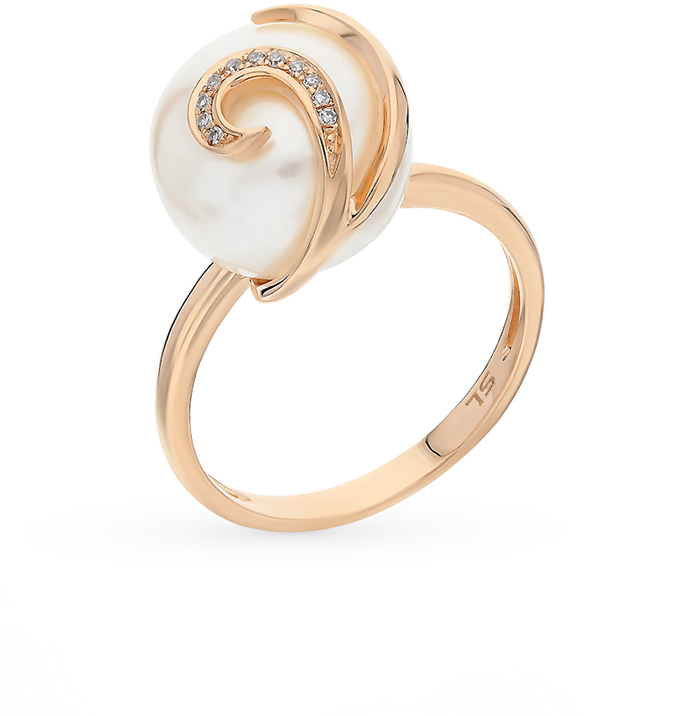 Фото «золотое кольцо с жемчугом и бриллиантами»