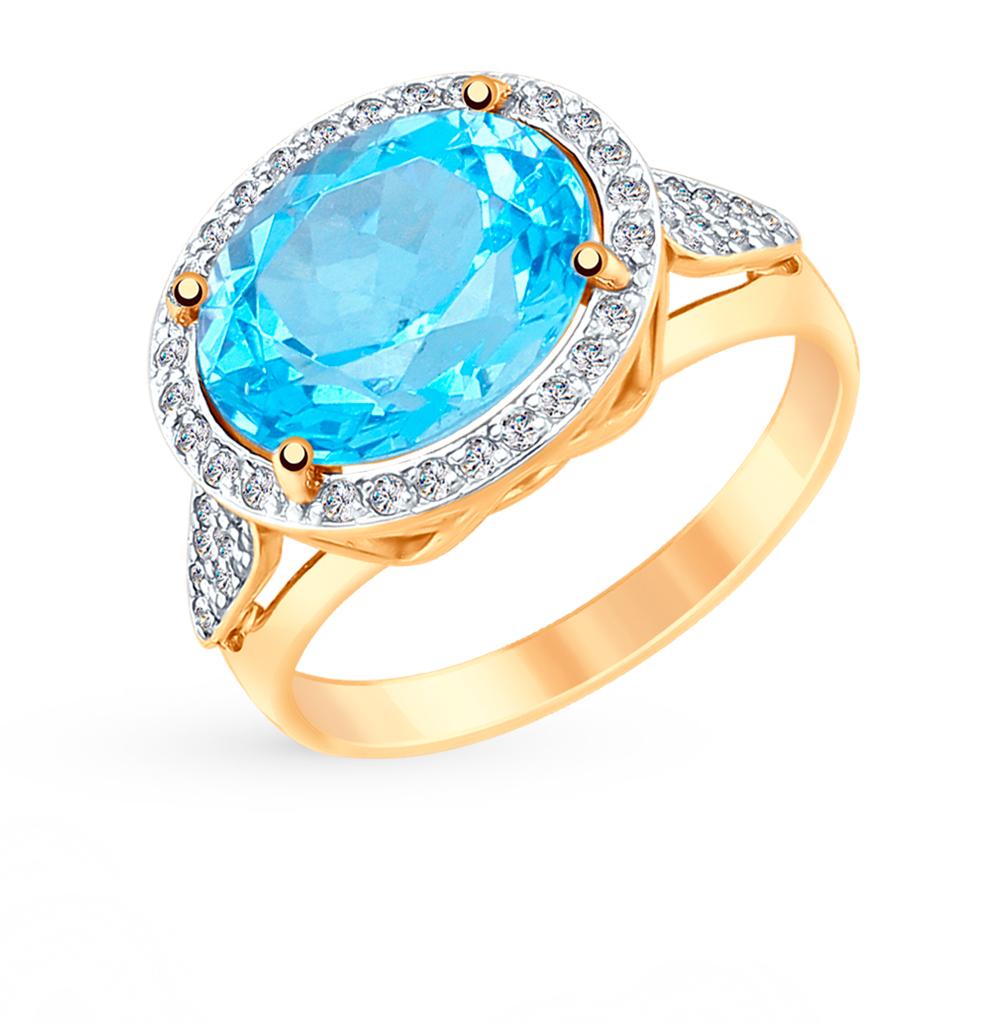 Фото «Золотое кольцо с топазами и фианитами SOKOLOV 715087»