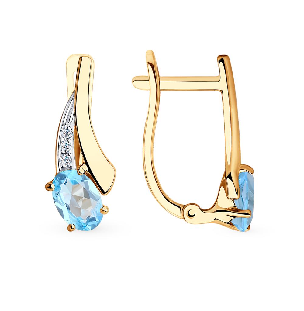 золотые серьги с топазами и фианитами SOKOLOV 725999*