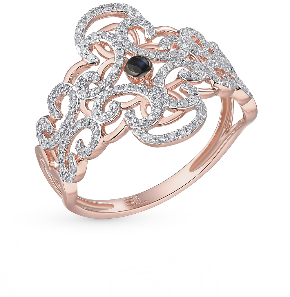 Фото «золотое кольцо с сапфирами и бриллиантами»