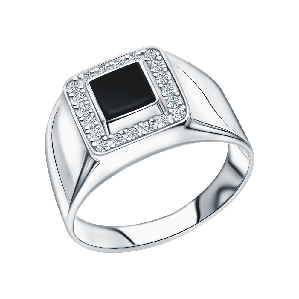 Серебряное кольцо с ониксом и фианитами в Санкт-Петербурге