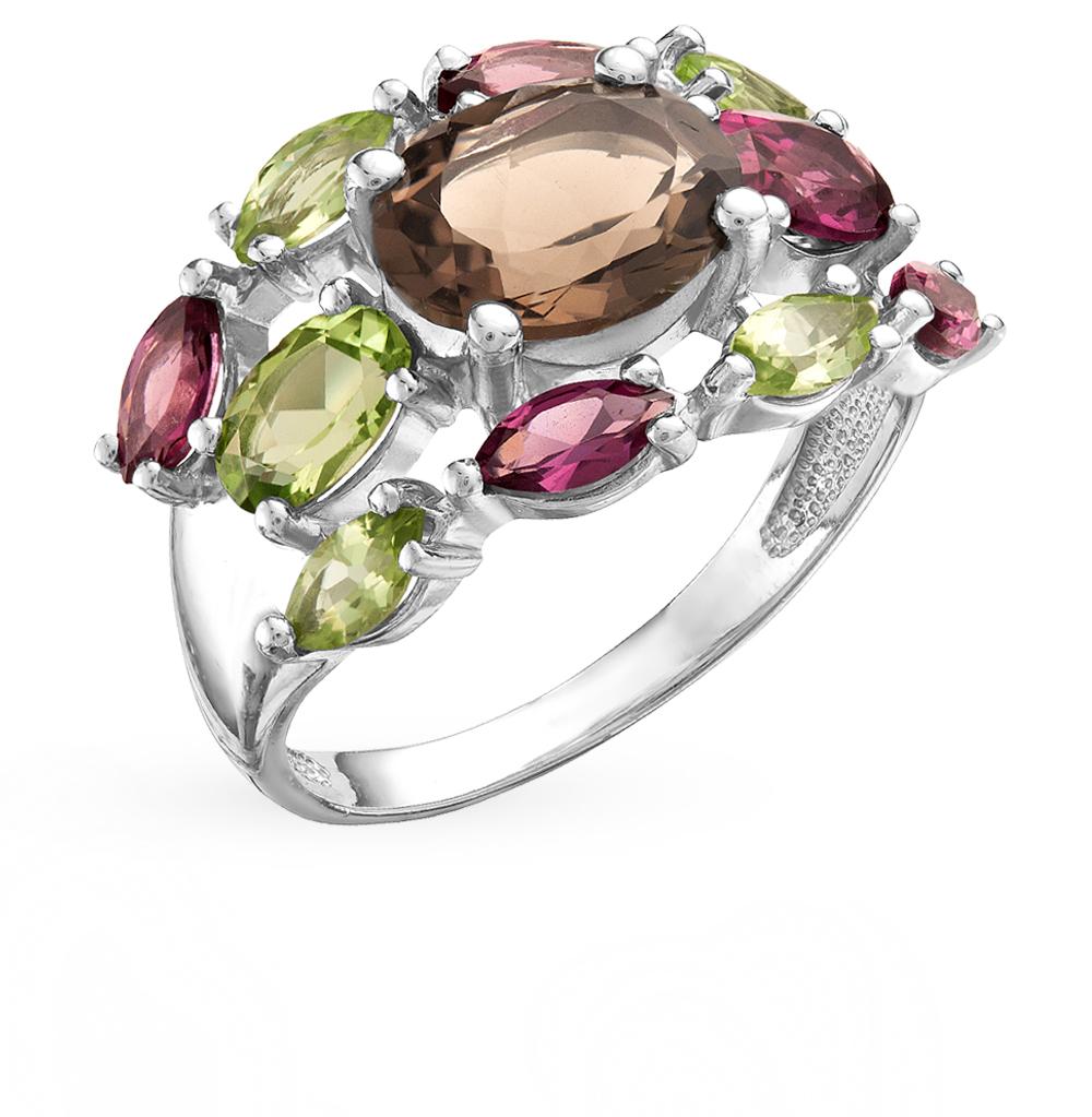 серебряное кольцо с родолитами, хризолитом и раухтопазами