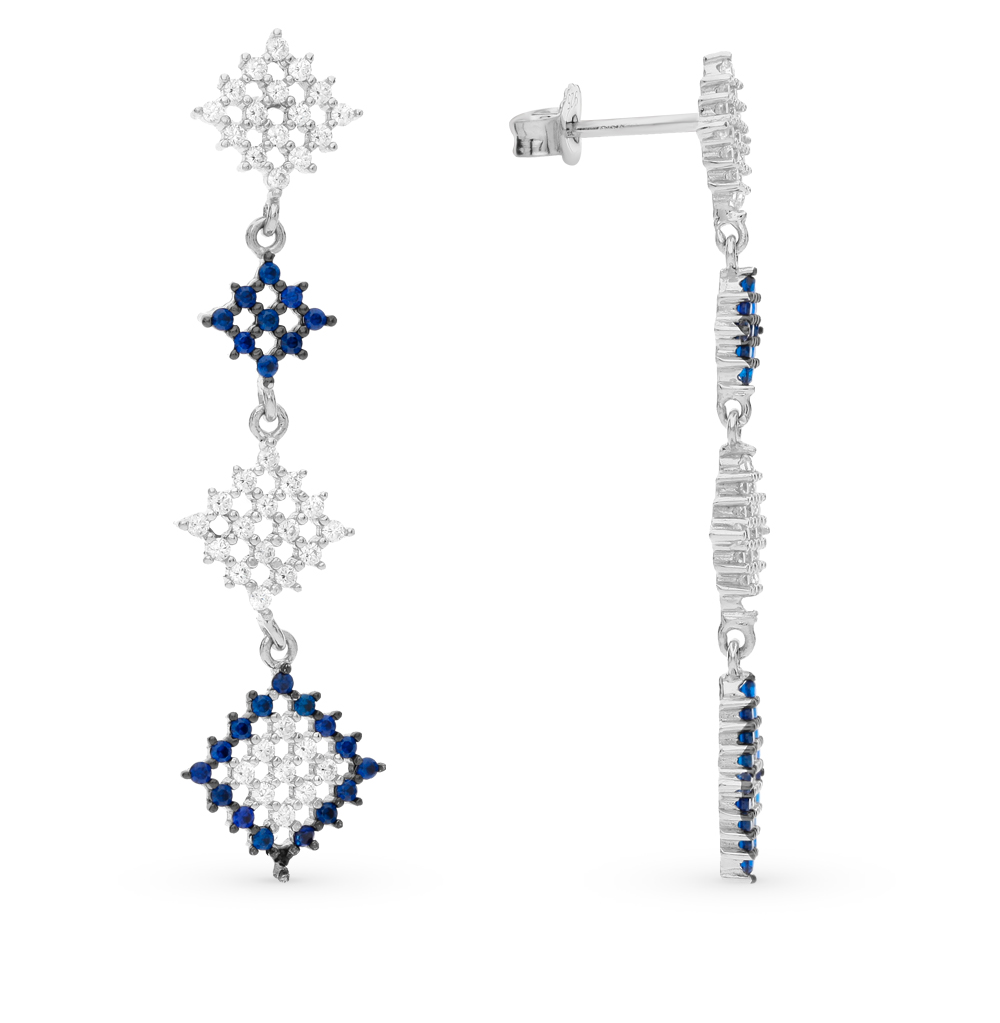 Фото «серебряные серьги с фианитами и шпинелями синтетическими»