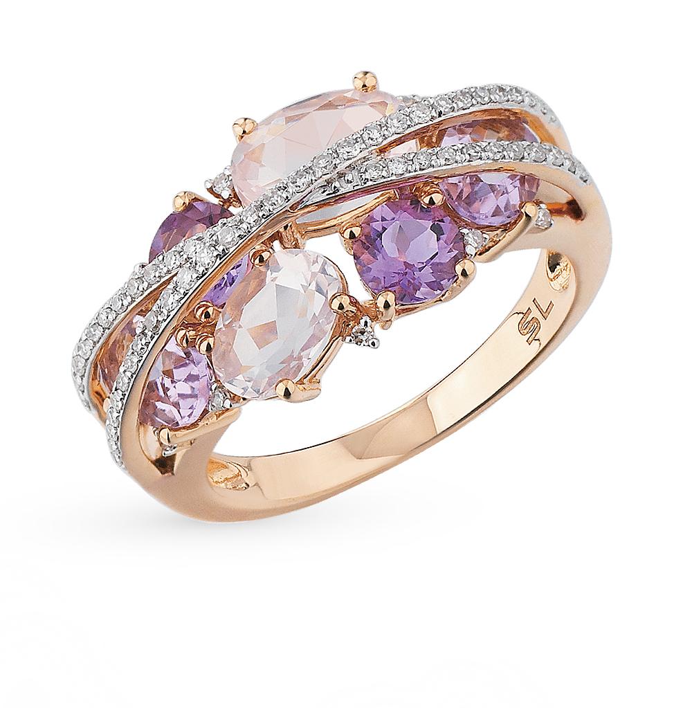 Золотое кольцо с аметистом, кварцем и бриллиантами в Екатеринбурге