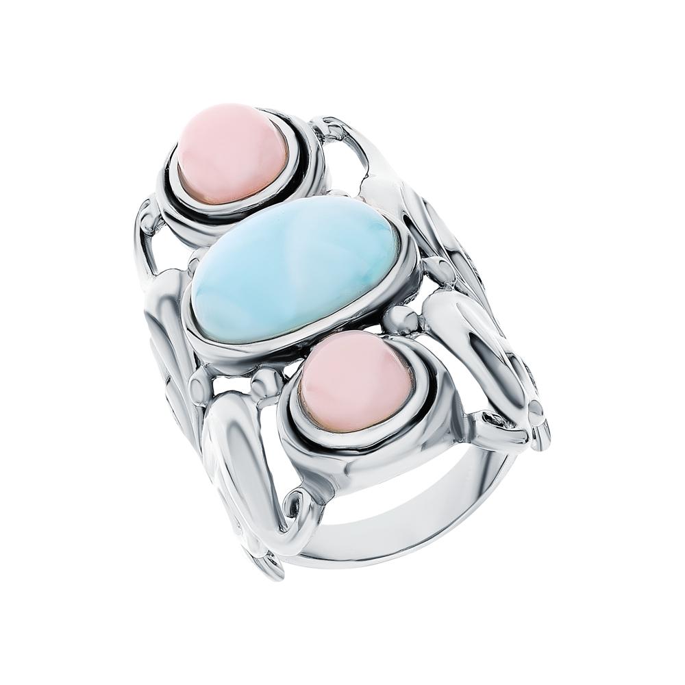 Фото «Серебряное кольцо с ларимаром и опалами»
