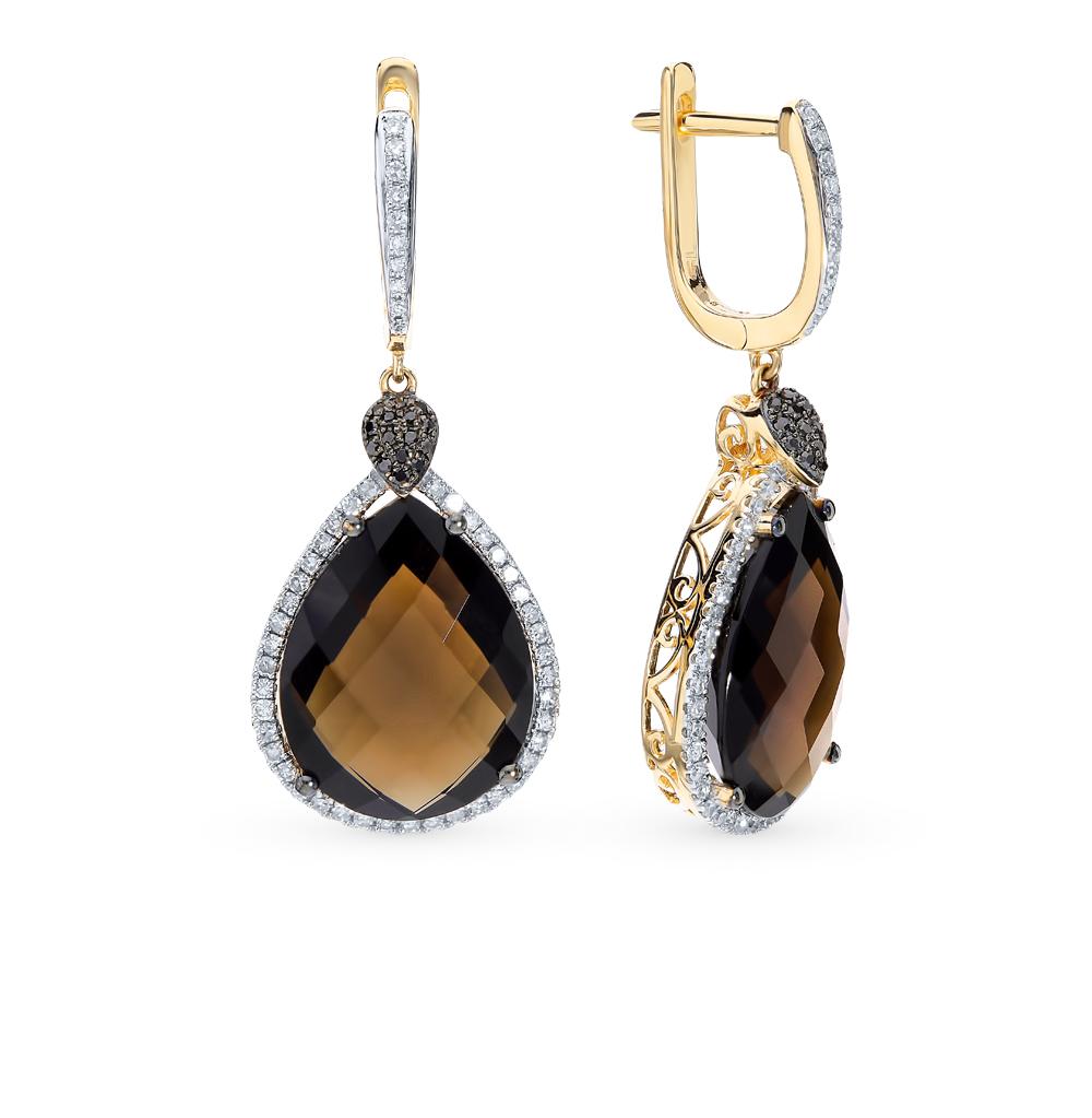 золотые серьги с кварцем и бриллиантами