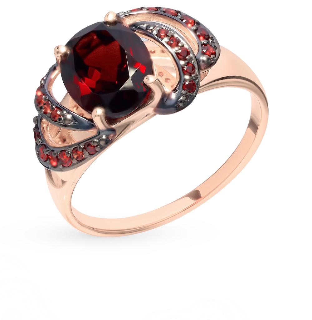 Фото «Золотое кольцо с фианитами и гранатом SOKOLOV 714855*»