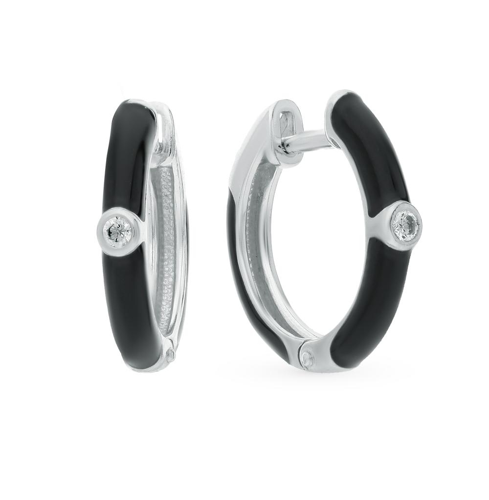 серебряные серьги с фианитами и эмалью SOKOLOV 94021297