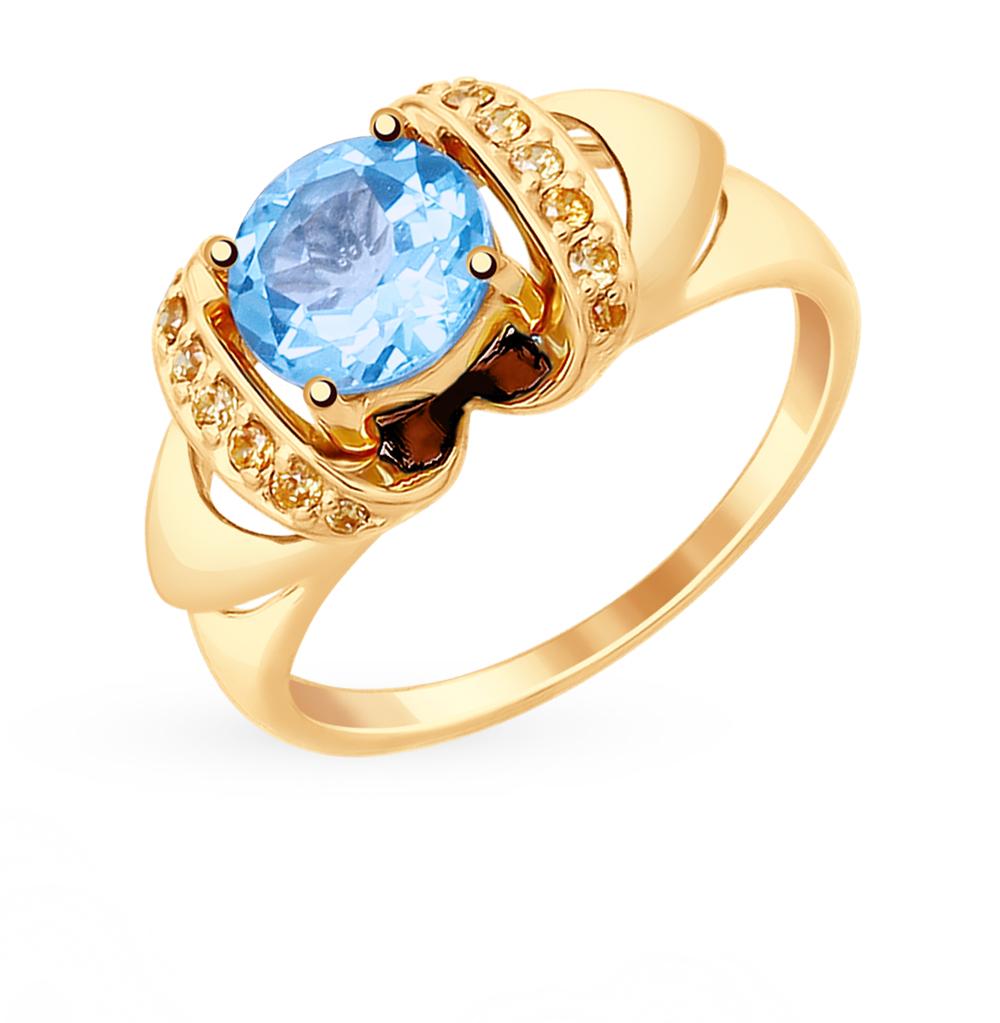 Фото «Золотое кольцо с топазами и фианитами SOKOLOV 714881*»