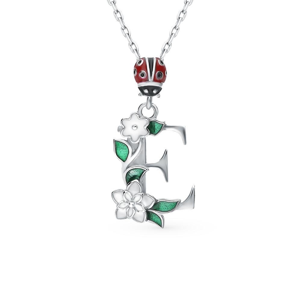 серебряное шейное украшение с эмалью