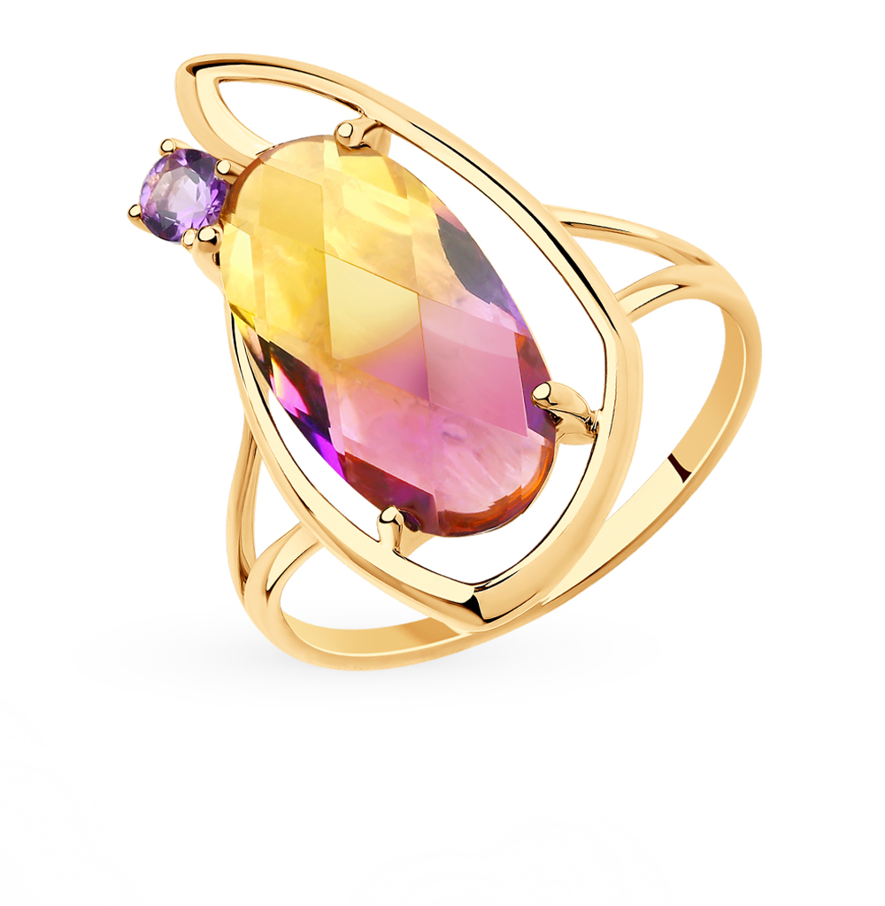 Фото «Золотое кольцо с аметистом и ситаллом SOKOLOV 715750*»