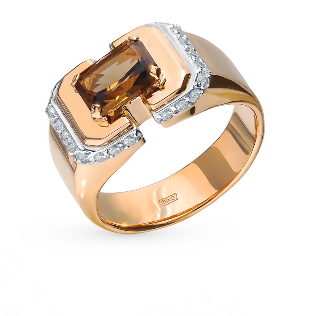 золотое кольцо с фианитами и раухтопазами (кварцами дымчатый)