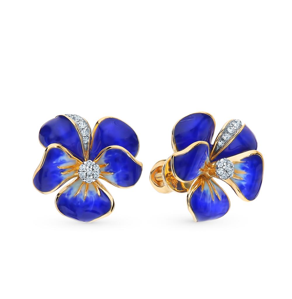 Золотые серьги с эмалью и бриллиантами в Екатеринбурге