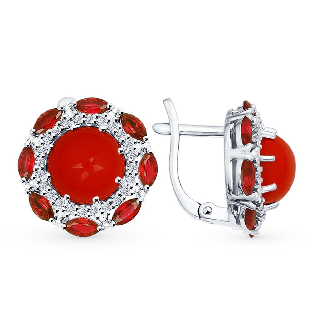 серебряные серьги с фианитами и кораллом SOKOLOV 94022052