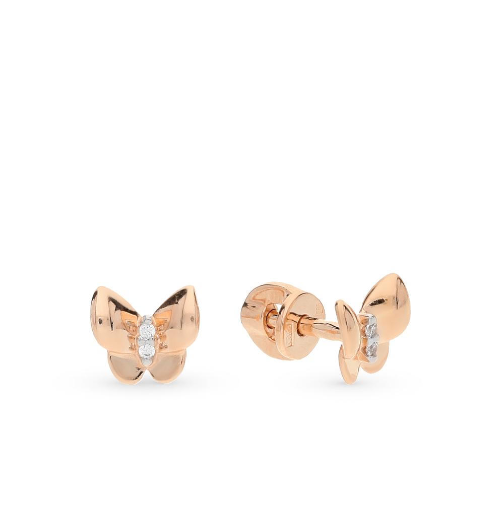 золотые серьги с фианитами SOKOLOV 026941*