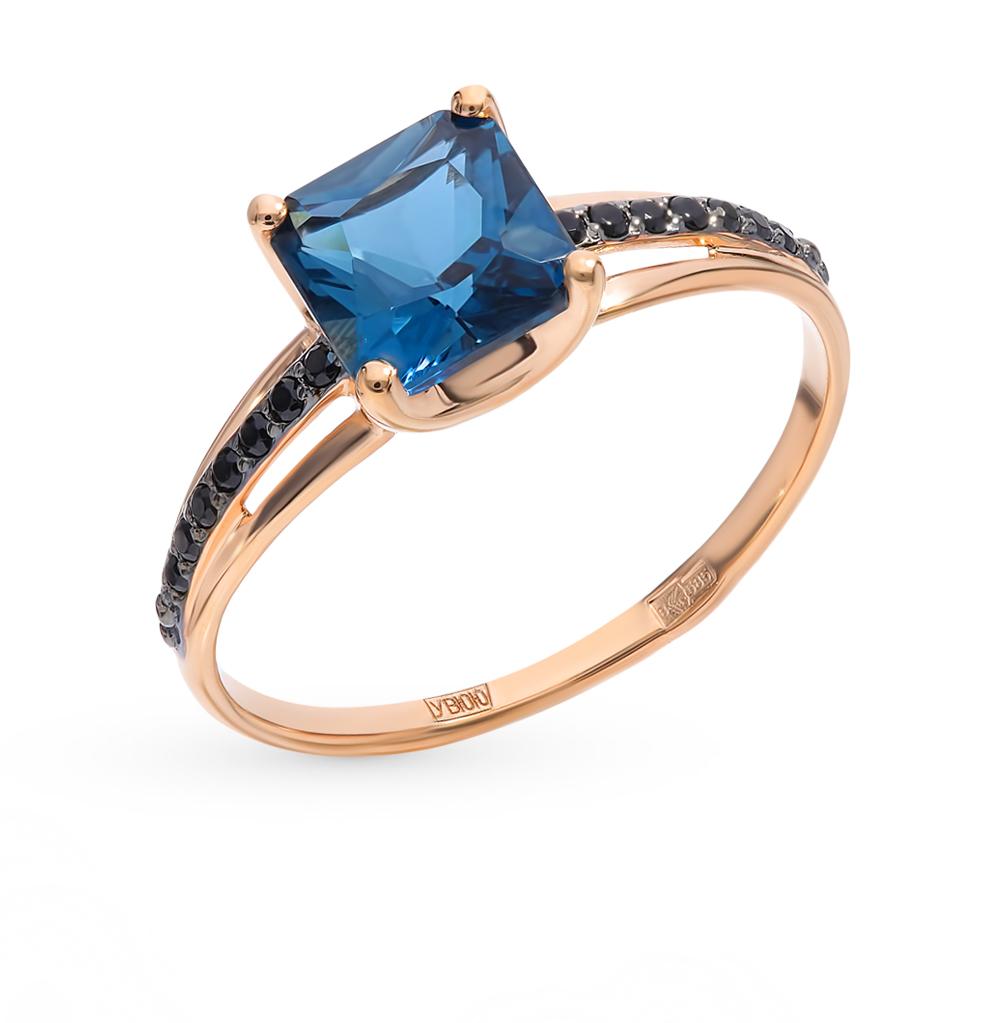 золотое кольцо с топазами и фианитами SOKOLOV 715002*
