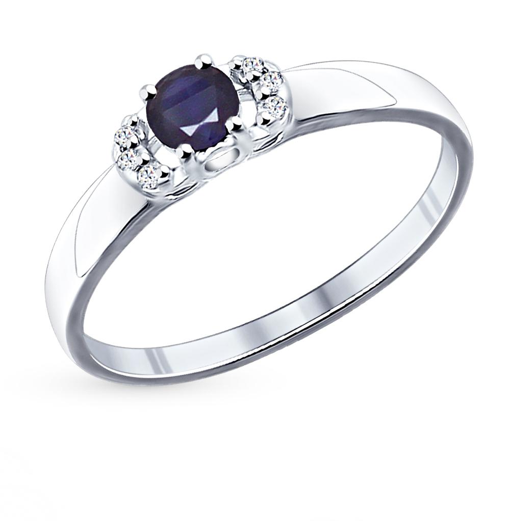 Серебряное кольцо с корундом и фианитами SOKOLOV 88010008 в Санкт-Петербурге