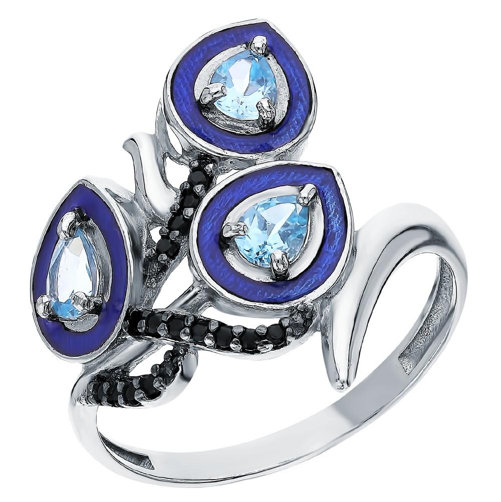 Фото «Серебряное кольцо с нанокристаллами, топазами и эмалью»