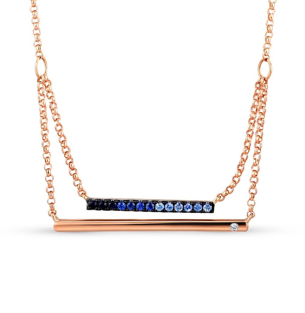 золотое шейное украшение с сапфирами и бриллиантами