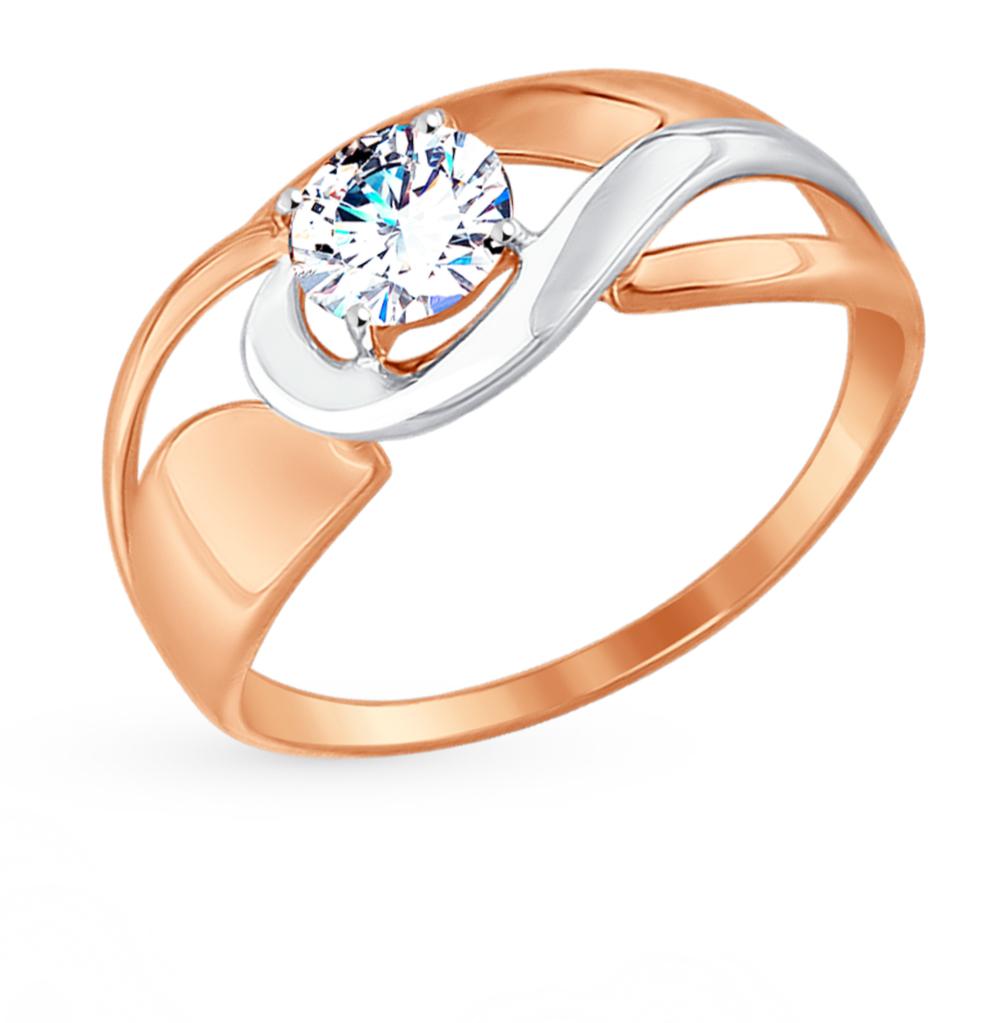 золотое кольцо с фианитами SOKOLOV 017479*