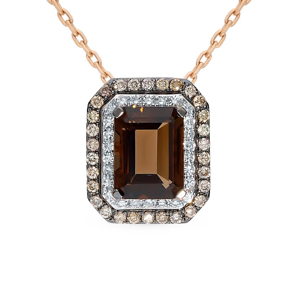 золотая подвеска с раухтопазами и бриллиантами