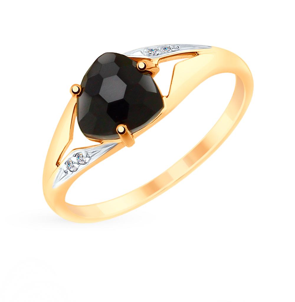 Фото «Золотое кольцо с фианитами и агатом SOKOLOV 715215»