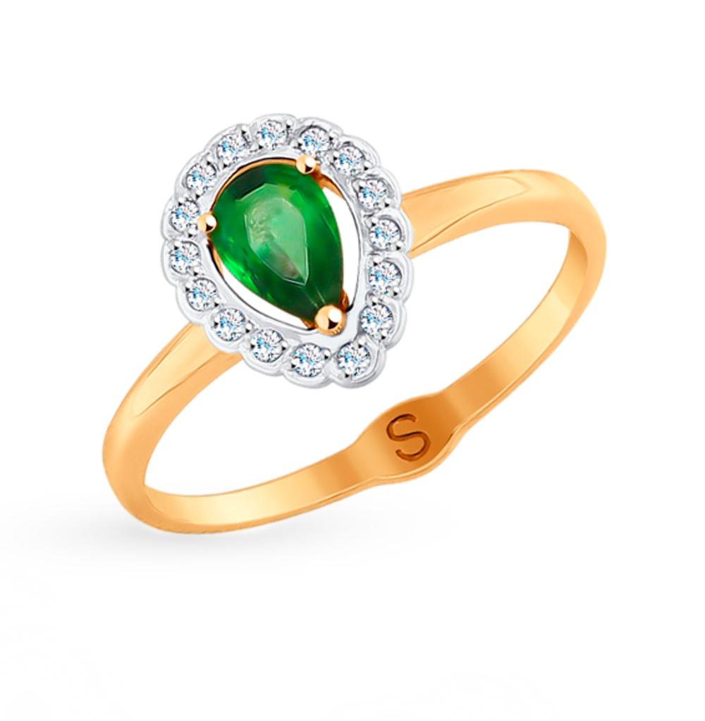 золотое кольцо с фианитами SOKOLOV 017810