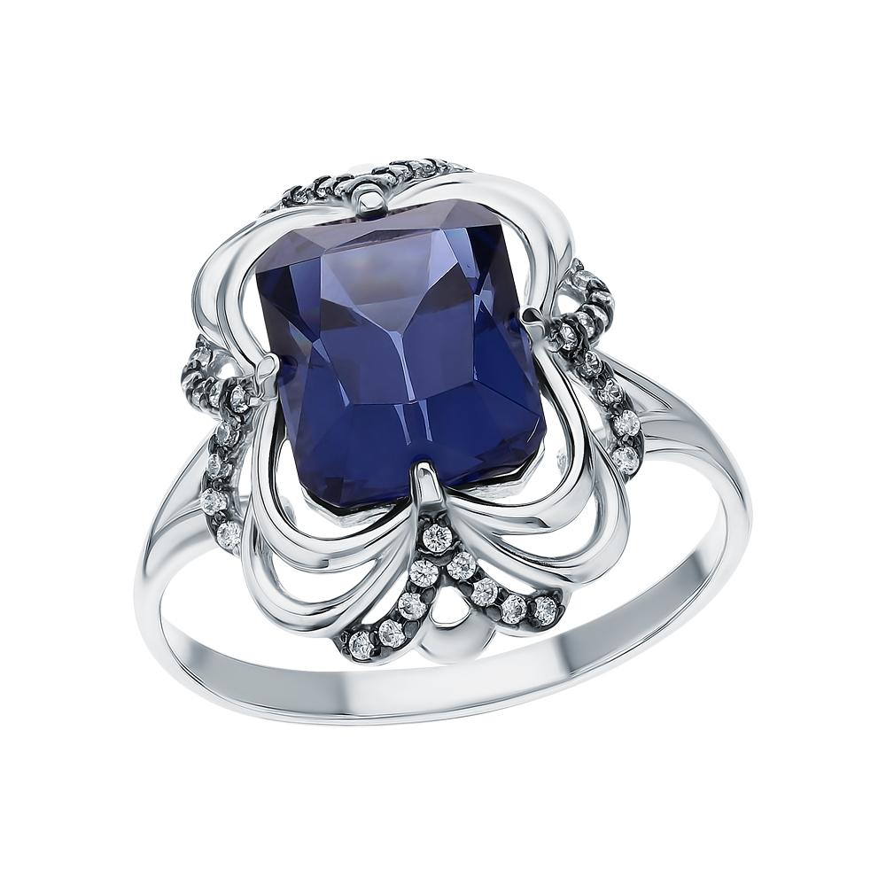 Фото «Серебряное кольцо с фианитами и танзанитами синтетическими»