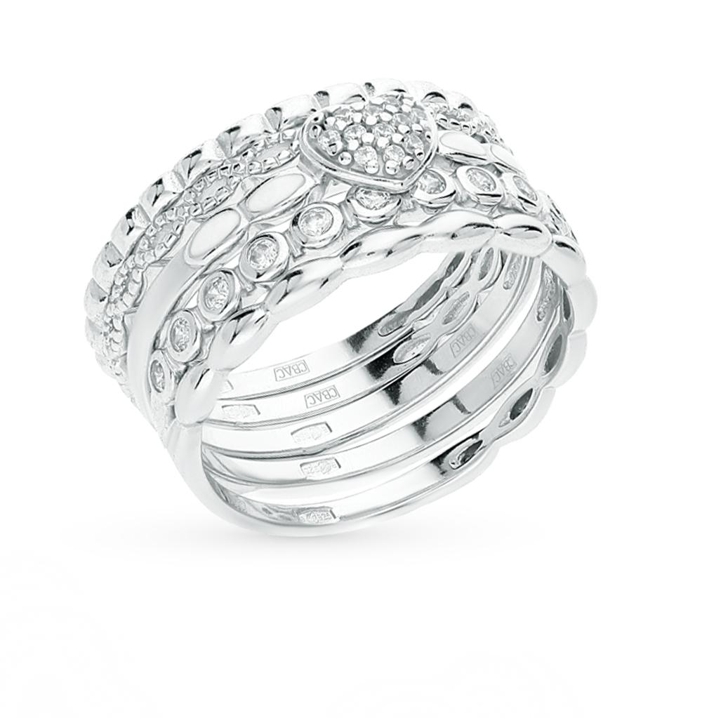 серебряное кольцо с фианитами и эмалью SOKOLOV 94011708