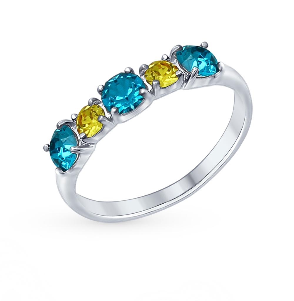 серебряное кольцо с кристаллами swarovski SOKOLOV 94012569