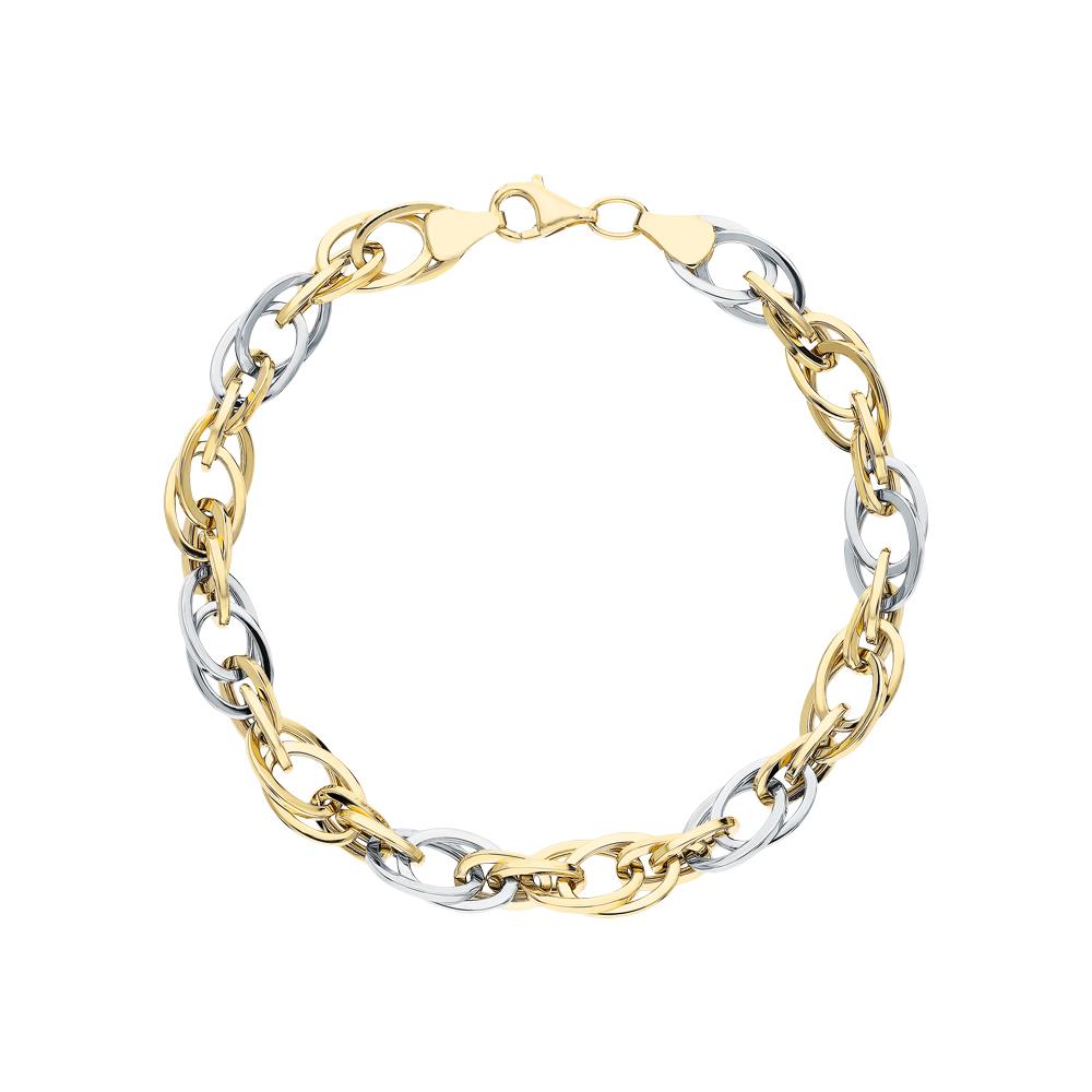 Золотой браслет JASMİNE JEWELLERY: белое и жёлтое золото 585 пробы — купить в интернет-магазине SUNLIGHT, фото, артикул 270001