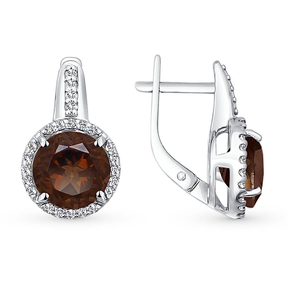 Фото «Серебряные серьги с раухтопазами и фианитами SOKOLOV 92021096»