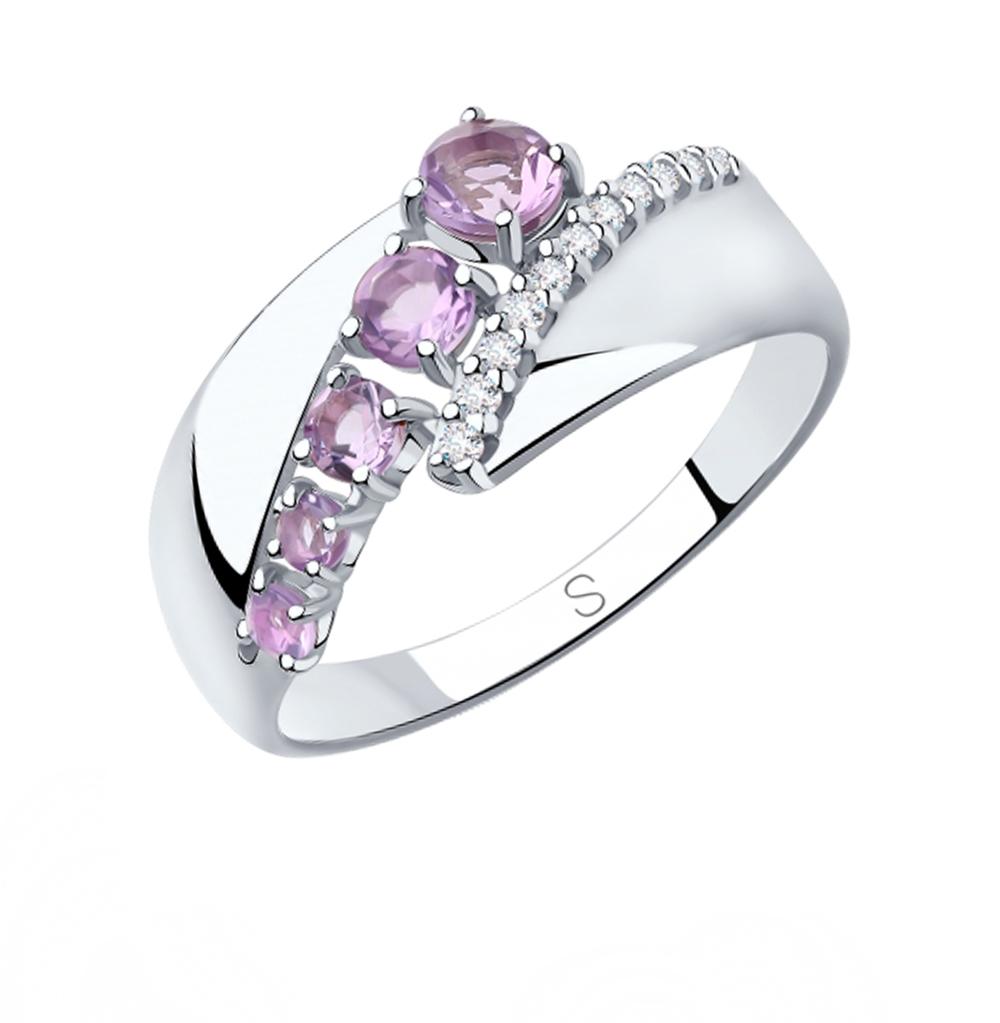 Фото «Серебряное кольцо с аметистом и фианитами SOKOLOV 92011816»