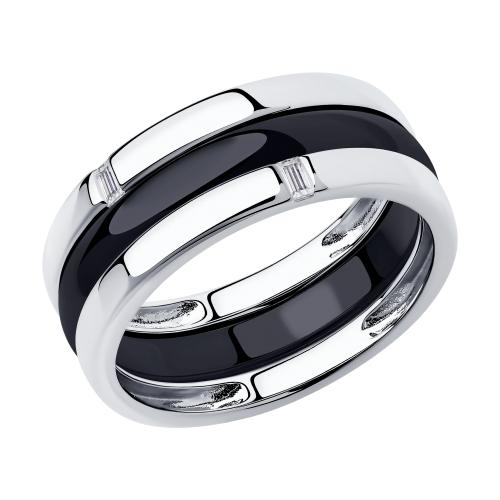 Фото «Керамическое кольцо с керамикой и фианитами SOKOLOV 94014584»
