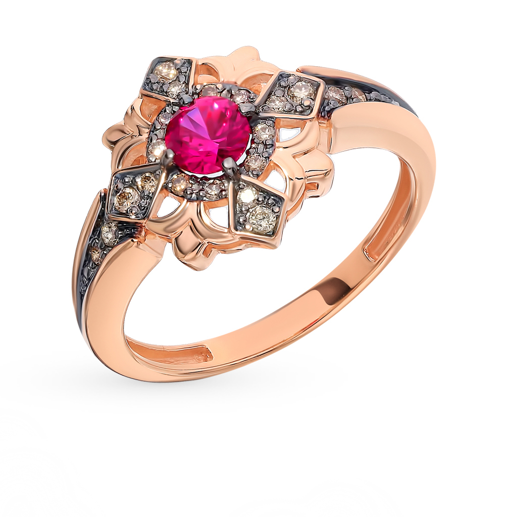 Золотое кольцо с коньячными бриллиантами и рубином