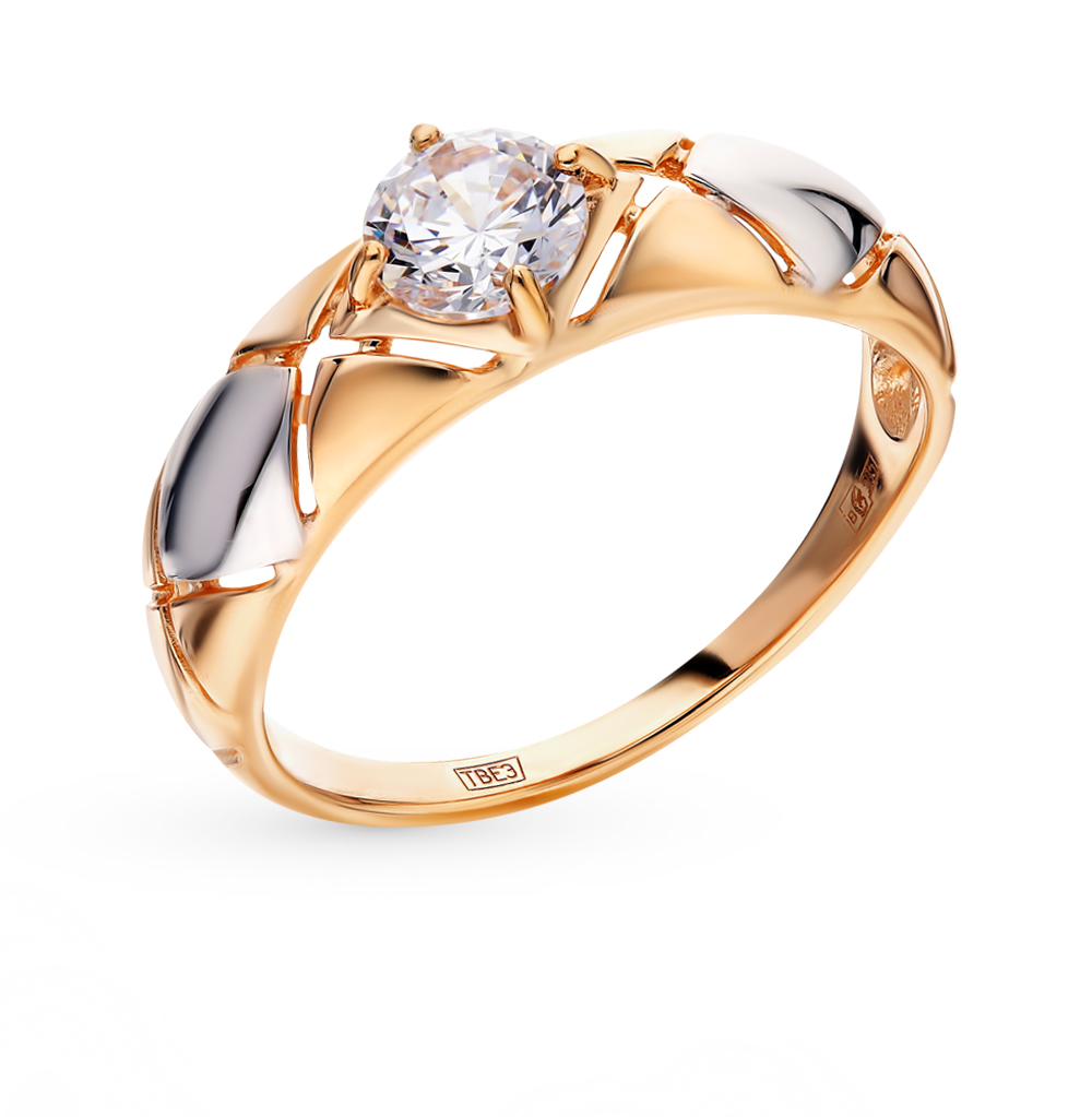 золотое кольцо с фианитами SOKOLOV 017596*