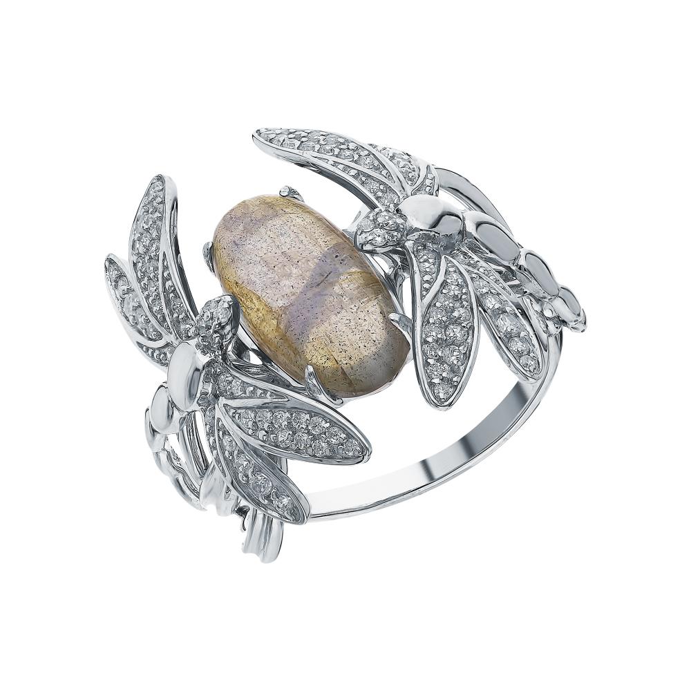 Фото «Серебряное кольцо с фианитами и лабрадоритами»