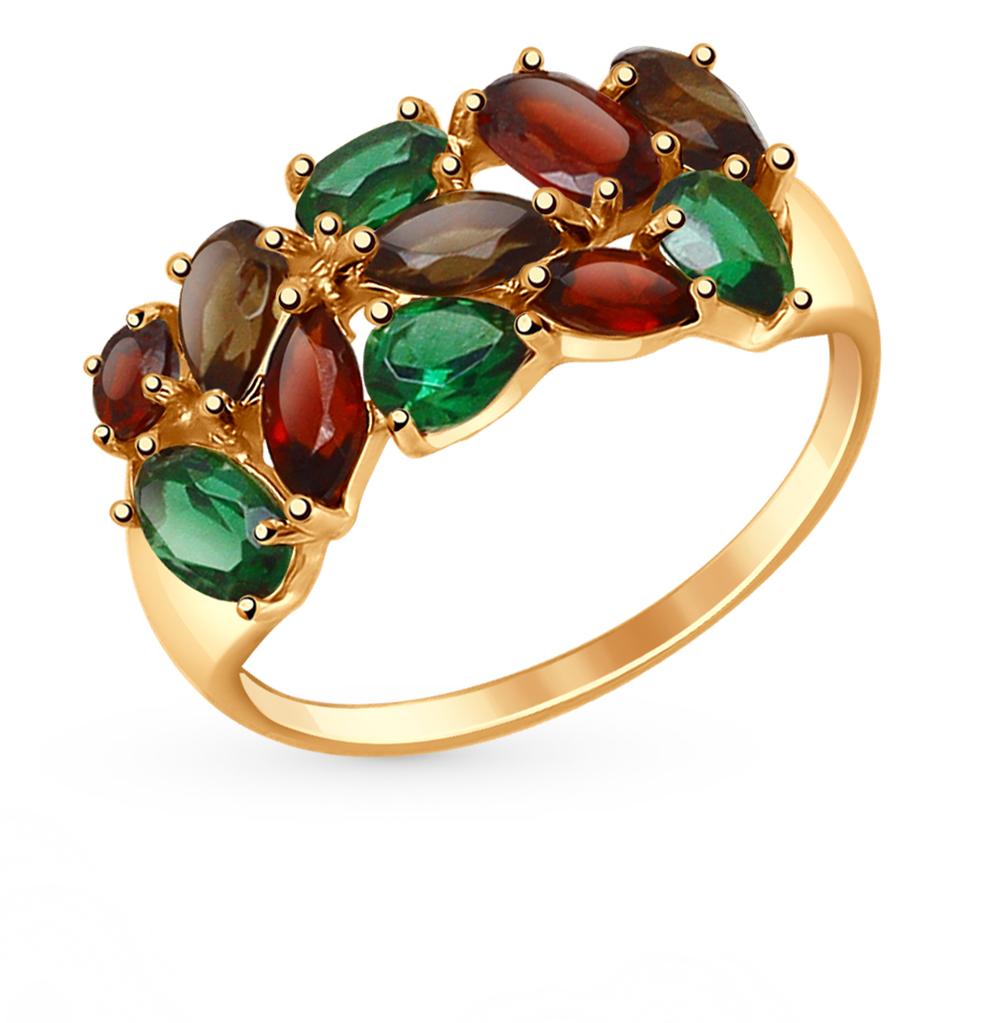 золотое кольцо с нанокристаллами, раухтопазами и гранатом SOKOLOV 714681*