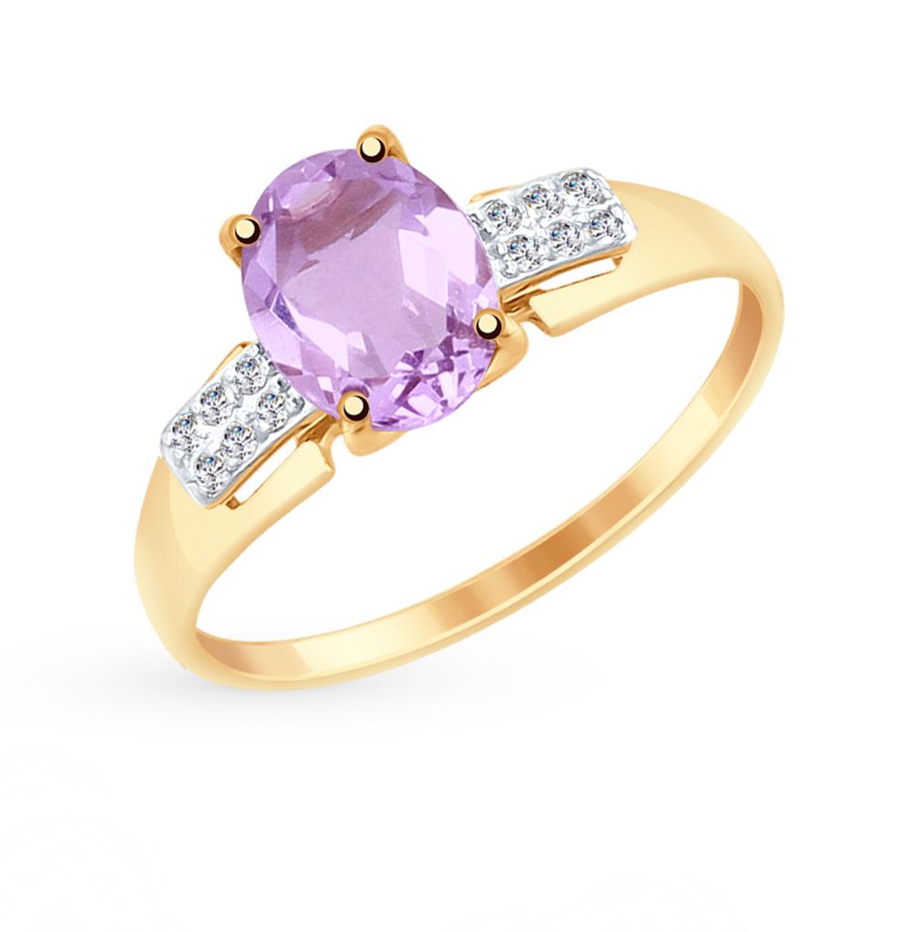 золотое кольцо с аметистом и фианитами SOKOLOV 715064*