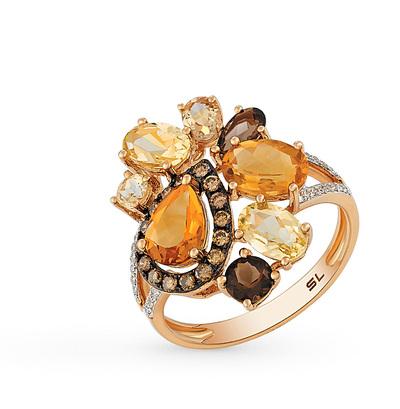 Фото «золотое кольцо с цитринами, кварцем и бриллиантами»