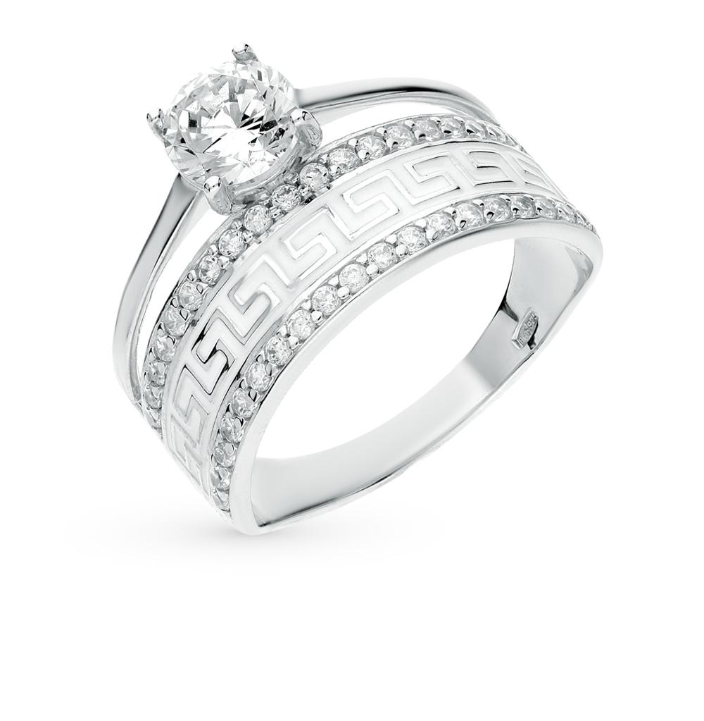 Фото «Серебряное кольцо с фианитами и эмалью SOKOLOV 94011132»