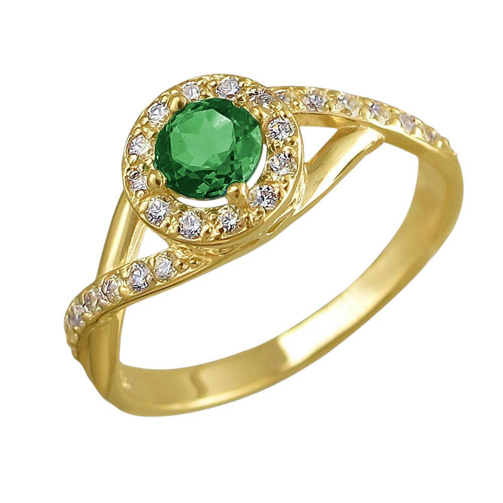 золотое кольцо с алпанитом и фианитами