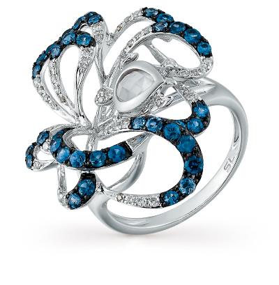 Фото «золотое кольцо с кварцем, сапфирами и бриллиантами»