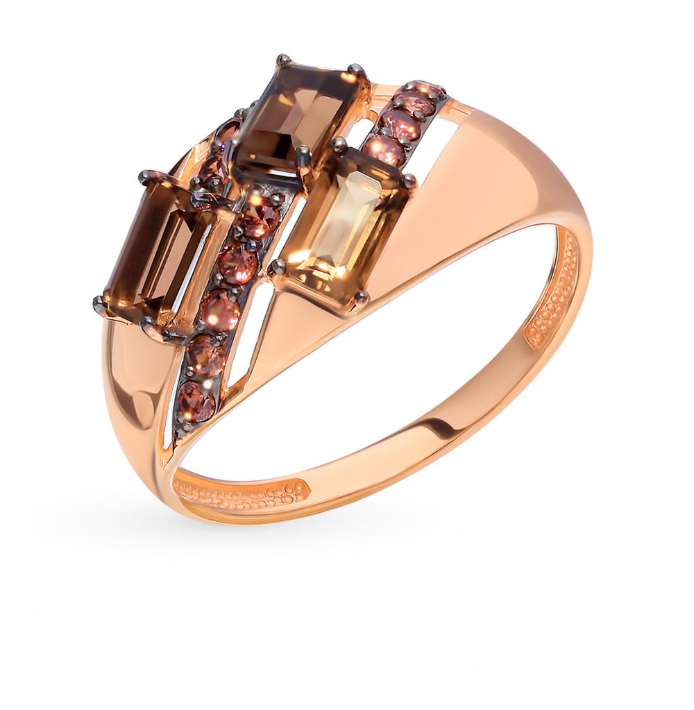 Золотое кольцо с раухтопазами и фианитами в Санкт-Петербурге