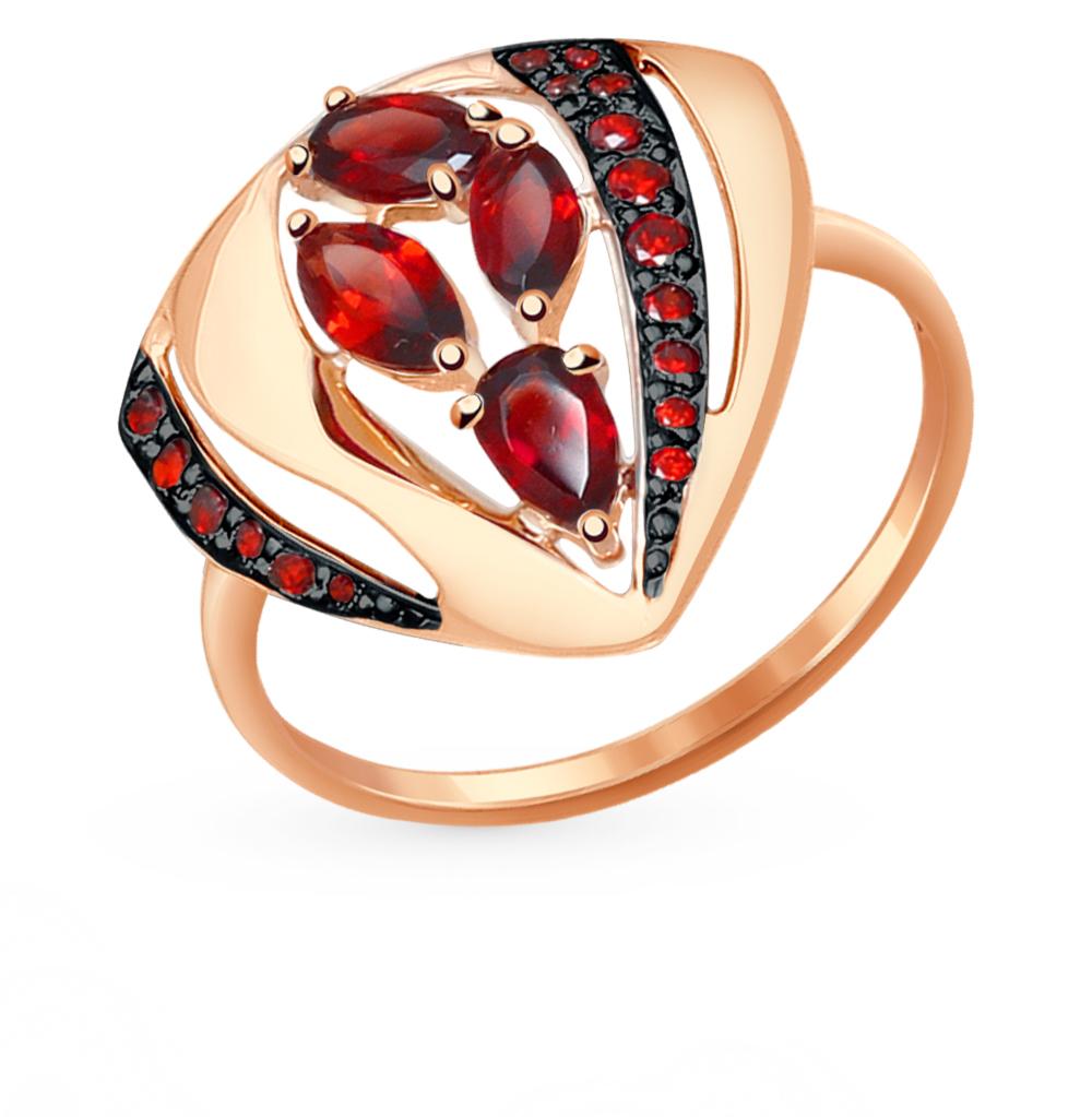 золотое кольцо с фианитами и гранатом SOKOLOV 714478*
