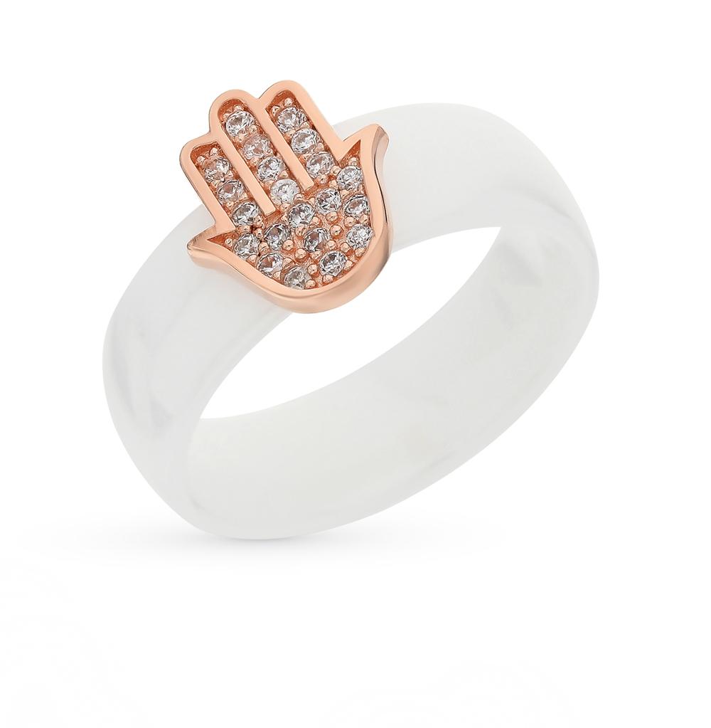 Фото «Керамическое кольцо с серебряной вставкой и фианитами»