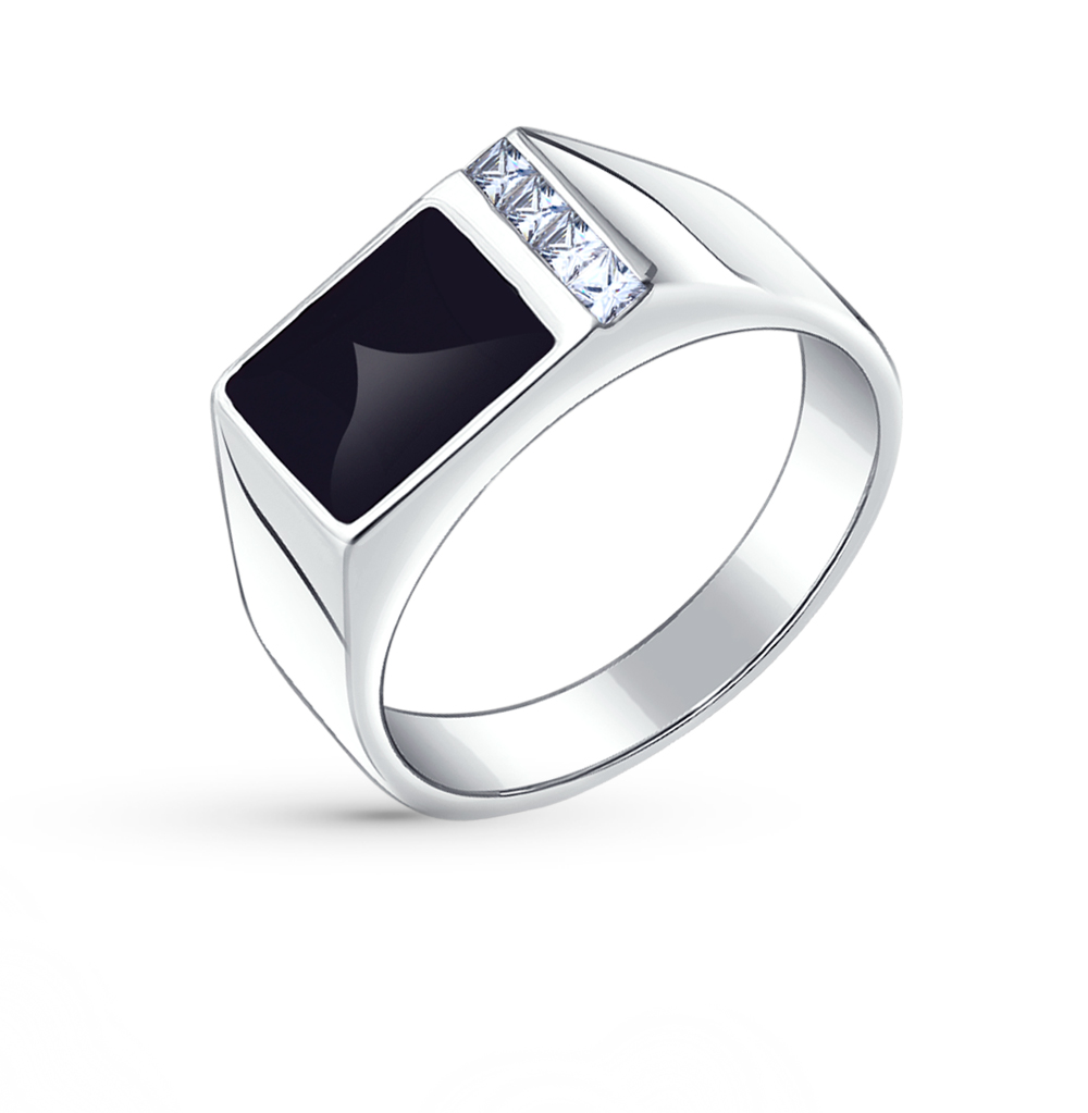 Фото «Серебряное кольцо с фианитами и эмалью SOKOLOV 94010434»